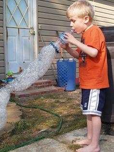 Bubble Snake (water bottle, washcloth, rubberband, bubble-stuff... jillions of bubbles)