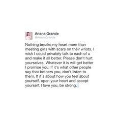 Ariana Grande sends a heartfelt note to her fans!