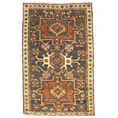 Antique Persian Heriz Karaja Oriental Rug, in Small Size, with Blue Green Field…