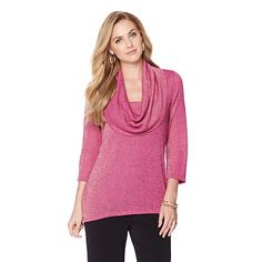 Product I designed for Slinky® Brand Cowl-Neck Metallic Knit Tunic
