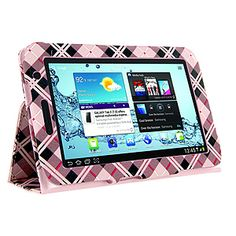 Fitted Pleather Case w/ Stand for #Samsung Galaxy Tab 2 7.0, Hot Pink #Plaid (Diagonal) $19.99 From #DayDeal