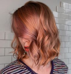 67 pretty peach hair color ideas: how to dye your hair peach - glowsly Blorange Hair, Hair Day, New Hair, Peach Hair Dye, Peach Hair Colors, Medium Hair Styles, Curly Hair Styles, Corte Y Color, Brown Blonde Hair