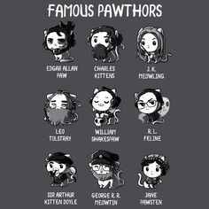 Famous Pawthors - This t-shirt is only available at TeeTurtle! Exclusive graphic designs on super soft 100% cotton tees.