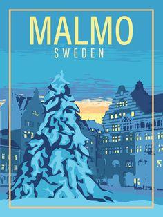 Copyright 2020 Little Blue Dog Designs Travel Ads, Travel Illustration, Blue Dog, All Poster, Vintage Travel Posters, Dog Design, Europe, Places To Travel, Sweden