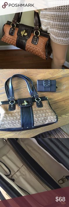"""Super cute satchel with wallet 15.5"""" W x 8"""" H 6.5 """" D clean used maybe one time wallet never used leather , weaved and fabric sides gorgeous size Kenneth Cole Bags Satchels"""