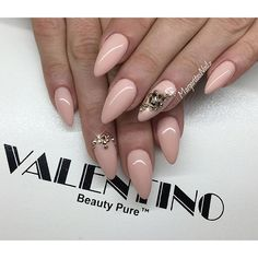 Nude almond nails Rose gold nail art
