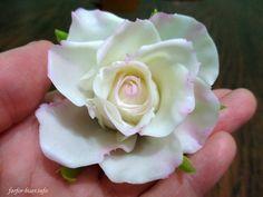 роза из  домашнего холодного фарфора