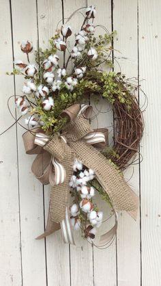 Cotton Wreath Cotton Boll Wreath Preserved Cotton Wreath by Keleas Wreath Crafts, Diy Wreath, Door Wreaths, Wreath Ideas, Grapevine Wreath, Stick Wreath, Rustic Wreaths, Ribbon Wreaths, Tulle Wreath