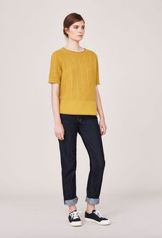 TOAST - SELVEDGE STRAIGHT LEG JEAN Guernsey Short Sleeve Pullover  Spring Court Plimsoll