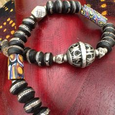 Moroccan Berber Necklace with Colorful Millefiori, Old Silver and Horn Beads More Info: https://www.etsy.com/listing/242959046/moroccan-berber-necklace-with-colorful BY INEKE HEMMINGA