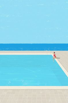 Canicule 5 by Raphaelle Martin - Illustration about solitude and tranquility Art And Illustration, Illustrations And Posters, Design Graphique, Graphic Art, Design Art, Pop Art, Art Photography, Fashion Photography, Photography Outfits