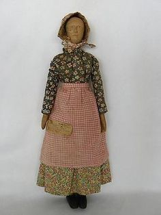 Antique-Carved-Wood-Appalachian-Jointed-Doll-Orig-Costume-Lizzie-Tibbets-Label
