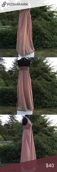 """Stunning Tommy Bahama Maxi Dress Stunning Tommy Bahama Maxi Dress Ladies Medium  (8-10) Bust 36.5- 37.5"""" around  Light Brown with stunning crochet detail under and around bust  Ties around the neck for adjustability  From underarm to bottom of hem 47"""" 100% cotton     EUC  Non smoking environment No stains, snags or damage M 1572 / W .50 Tommy Bahama Dresses Maxi"""