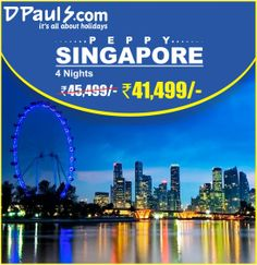 Give a kick start to new season with a peppy #vacation to #Singapore! Book 4 Nights #Package at Rs. 41,499/- p.p. online at http://goo.gl/1I1UqO or call us at 011 662 11 111.  Package Includes: Airfare on Jet Airways. 4 Nights Stay in Singapore. Daily Breakfast Half day Singapore City tour Airport transfers Visa charges All taxes Seats filling up fast! Book yours at 011 662 11 111.