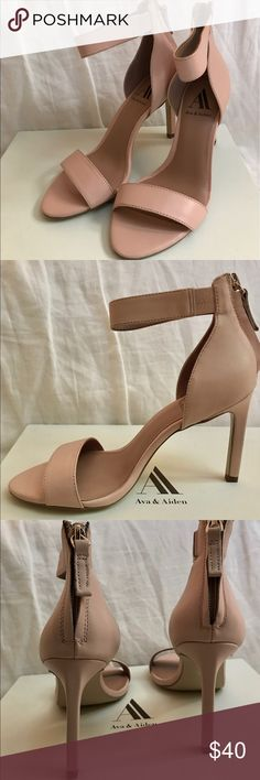 Soft pink Aiden and Eva heels with zipped back. Perfect for spring! 💯% Napa leather. Wear these pale pink heels with leather front strap and back zip with  a cool summer dress or with skinnies and a sexy camisole. Please note! These sandals are pink. They appear slightly nude in a few of the photos but are definitely pink. New in box. Shoes Sandals