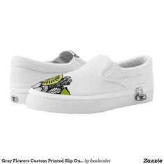 Gray Flowers Custom Printed Slip On Zipz Shoes Printed Shoes
