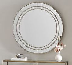 Audrey Beaded Mirror   Pottery Barn Octagon Mirror, Round Wall Mirror, Mirror Art, Floor Mirror, Round Mirrors, Wall Mirrors, Bathroom Mirrors, Bathrooms, Large Mirrors
