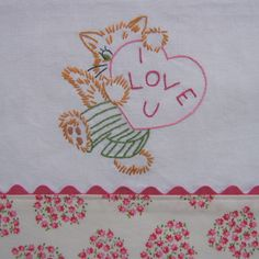 """""""I love you"""" kitty embroidery"""