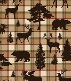 Snuggle Flannel Fabric-Forest Creatures On Plaid