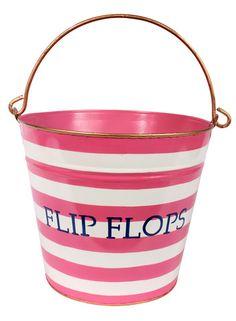 """Horizontal Stripe Pink """"Flip Flop"""" Pail"""