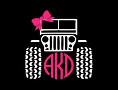 Jeep Circle Monogram with Bow Decal (5 inch x 5 inch) by OnEasleyStreet on Etsy https://www.etsy.com/listing/249119982/jeep-circle-monogram-with-bow-decal-5