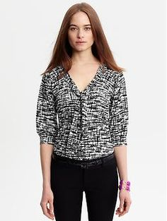 tie-front top in a graphic black and white print