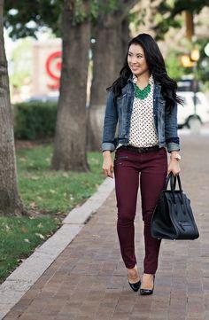 ae denim jacket, white polka dot shirt, burgundy jeans, green la flor statement necklace, louboutin decollete black pat...