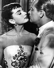 Audrey with William Holden:  During the filming of Sabrina (Billy Wilder,1954)