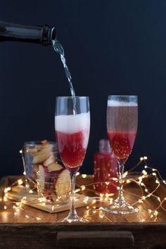 Make this brunch staple a little more festive with stewed plums and spice. Get more holiday cocktail ideas at redbookmag.com.