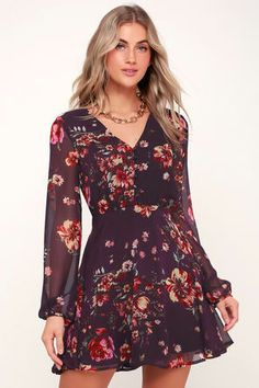 We've committed to the Lulus Always Yours Plum Purple Floral Print Long Sleeve Skater Dress! Floral gauzy fabric shapes a mini skater dress with a button front. Cute Floral Dresses, Floral Skater Dress, Mini Skater Dress, Casual Dresses, Skater Dresses, Mini Skirt, Long Sleeve Floral Dress, Trendy Dresses, Dress Long
