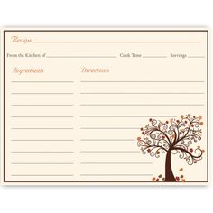 Have guests share recipes at yourbridal shower with this autumn inspired recipe card featuring a lovely tree with falling leaves.