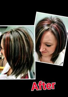 Red and blonde highlights on brown hair by Carrie @ Stephanie & Company