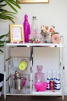 BLND PR's Unique and Chic Office Space {Office Tour} - I love this playful bar cart!