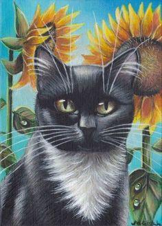 Cat & Sunflowers Summer Painting #Realism