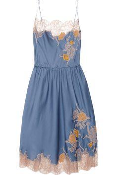 Carine Gilson Théme Tamara lace-appliquéd silk chemise NET-A-PORTER.COM