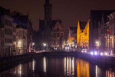 Night lights view of the canals in Brugge (Bruges), Belgium in winter for Christmas