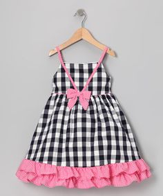 Look at this Gidget Loves Milo Navy & Pink Gingham Ruffle Dress - Infant, Toddler & Girls by Gidget Loves Milo Simple Frock Design, Baby Dress Design, Toddler Girl Dresses, Toddler Outfits, Kids Outfits, Toddler Girls, Simple Frocks, Vichy Rose, Sewing Kids Clothes