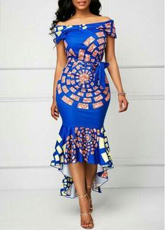 African Print Dress Printed Belted Off the Shoulder Mermaid Dress African Dresses For Women, African Print Dresses, African Print Fashion, Africa Fashion, African Attire, African Wear, African Fashion Dresses, African Prints, African Style