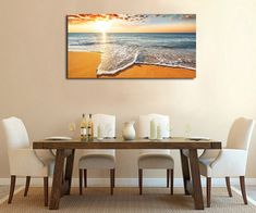 Brilliant Ocean Beach Sunrise Seascape Canvas Print Modern Home Decor Wall Art Large Canvas Prints, Large Canvas Wall Art, Hanging Canvas, Canvas Wall Decor, Diy Canvas Art, Hanging Wall Art, Home Decor Wall Art, Stretched Canvas Prints, Wall Art Prints
