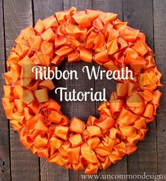 DIY ribbon wreath tutorial by Uncommon Designs Fall Ribbon Wreath, Ribbon Wreath Tutorial, Diy Fall Wreath, Diy Ribbon, Wreath Crafts, Ribbon Crafts, Holiday Wreaths, Holiday Crafts, Diy Crafts