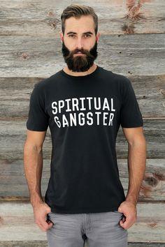 SPIRITUAL GANGSTER STACKED LOGO TEE VINTAGE BLACK