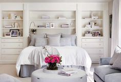 Grey and white with built in shelves