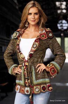 crochet cardigan with granny square details Gilet Crochet, Crochet Coat, Crochet Jacket, Crochet Cardigan, Crochet Clothes, Moda Crochet, Crochet Girls, Crochet Fashion, Beautiful Crochet