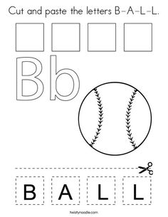 B is for Ball Coloring Page New Cut and Paste the Letters B A L L Coloring Page Twisty Noodle Baseball Coloring Pages, Sports Coloring Pages, Alphabet Coloring Pages, Coloring For Kids, Preschool Color Activities, Sports Activities For Kids, Preschool Worksheets, Letter B Worksheets, Cut And Paste Worksheets