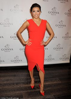 e45ad8c5b69 Eva Longoria sizzles in red as she promotes chocolate