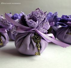 Different color, but do you like the idea of using a handkerchief as something they would keep after the toss the lavender?