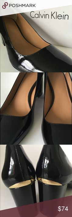 "Patent Pumps Modish styled pumps in glossy black patent leather. 2 1/2"" block heel with gleaming goldstone rand @ heel back. Gently rounded toe, rubber sole and gel pod provide added comfort. Worn once/In new condition. Calvin Klein Shoes Heels"