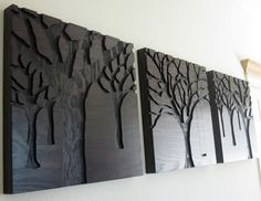 Rustic Modern Wall Art, Triptych Art Set, Large Art, Wood Carvings, Abstract Nature. $700.00, via Etsy.