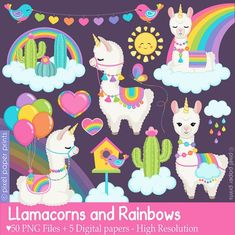 Llamacorns and Rainbows clipart - Unicorn Llamas - clipart - Alpaca Clip Art - Digital Alpacas, Machine Silhouette, Llama Clipart, Rainbow Clipart, Clip Art, Art Mural, Rainbow Unicorn, Photoshop Elements, Art Images
