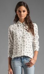 Theory egret cully bird printed silk blouse